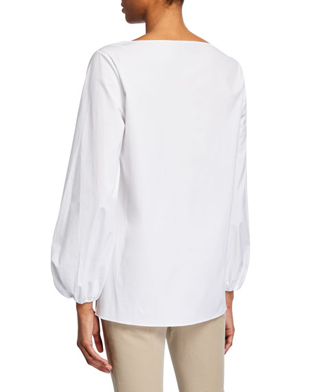 Theory Boat-Neck Shirred-Sleeve Top