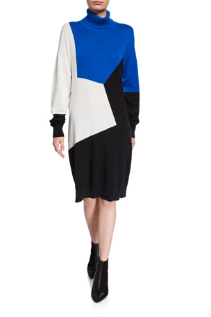 Joan Vass Colorblock Turtleneck Cotton Sweaterdress