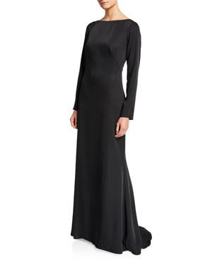 6a2a7994b7da Tadashi Shoji High-Neck Illusion-Back Long-Sleeve Crepe Gown