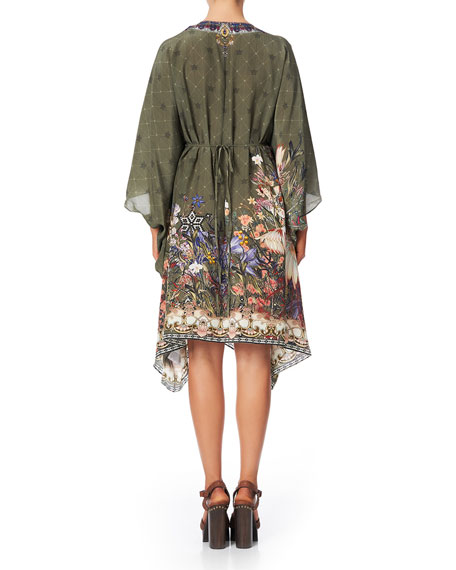 Camilla Printed Short Kaftan with O-Ring Detail