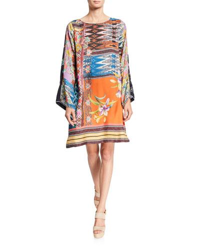 Petite Luna Mixed-Print Flare-Sleeve Silk Dress