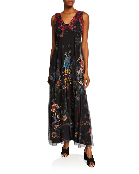 Johnny Was Genjy V-Neck Sleeveless Embroidered Mesh Maxi Dress