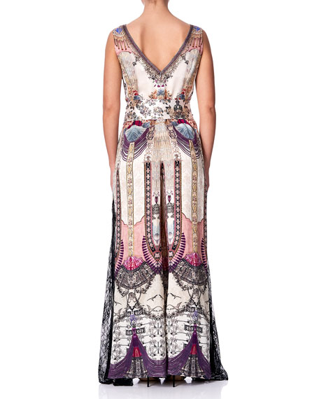 Camilla Printed Lace-Trim Jumpsuit with Godet Insets