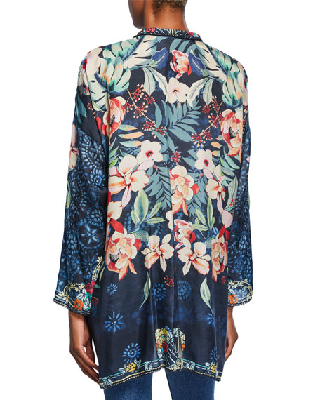 Johnny Was Plus Size Nelia Floral-Print Button-Front Long-Sleeve Silk Shirt