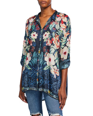 ecc1f99a0867d4 Johnny Was Plus Size Nelia Floral-Print Button-Front Long-Sleeve Silk Shirt