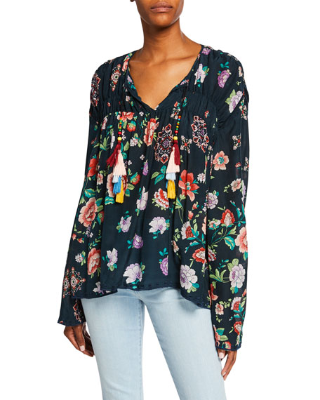 Johnny Was Petite Harley Floral-Print Long-Sleeve Tassel-Tie Top