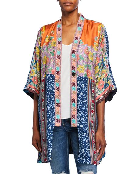 Johnny Was Bianca Reversible Silk Twill Short Kimono