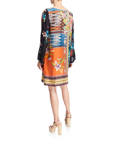 Johnny Was Luna Mixed-Print Flare-Sleeve Silk Dress