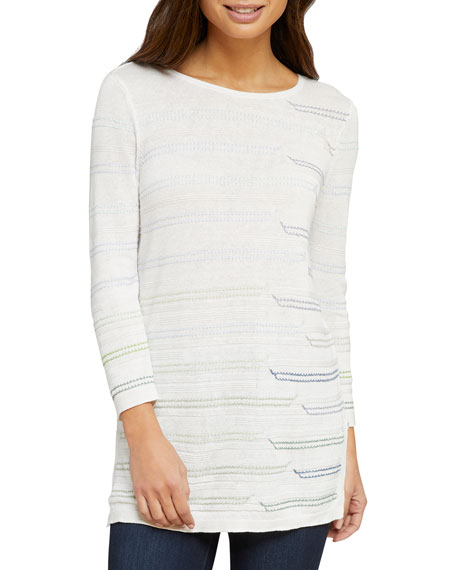 NIC+ZOE Day Boat Striped Long-Sleeve Top