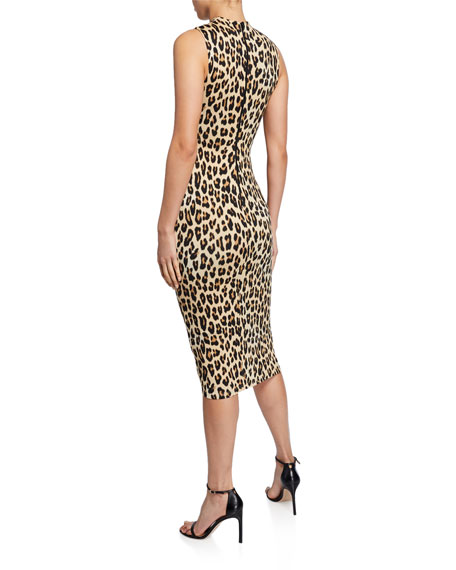Alice + Olivia Delora Sleeveless Fitted Leopard Mock-Neck Dress