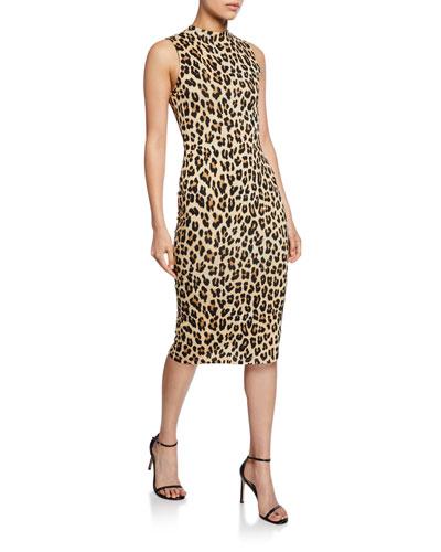 Delora Sleeveless Fitted Leopard Mock-Neck Dress