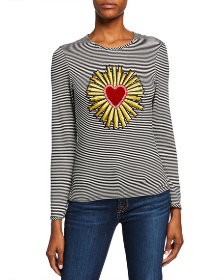 Melissa Masse Plus Size The Madonna Striped Heart/Halo Long-Sleeve Crewneck Top