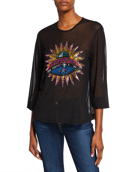 Melissa Masse Plus Size Sequin Spaceship 3/4-Sleeve Dot Mesh Blouse