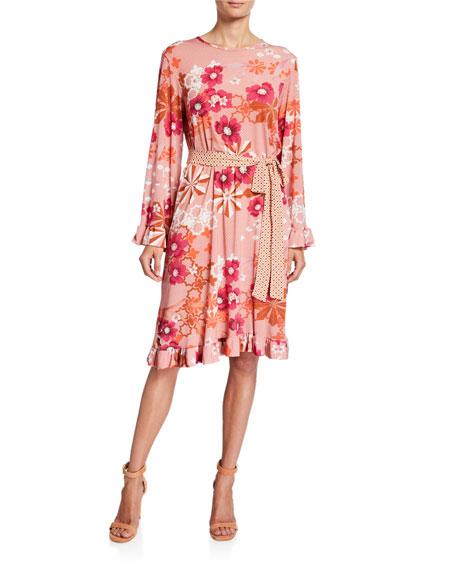 Melissa Masse Plus Size Floral Dot-Print Long-Sleeve Ruffle-Hem Dress