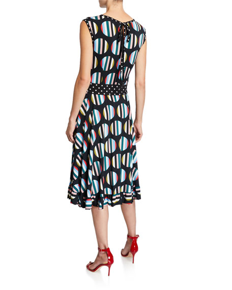 Melissa Masse Floral Wide-Sleeve Belted Luxe Jersey Dress