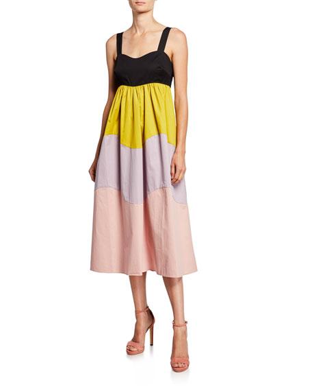 kate spade new york scallop blocked sleeveless midi dress