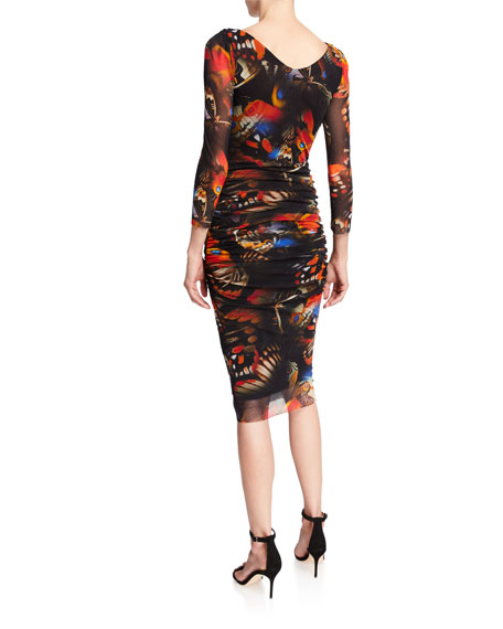 Fuzzi Butterfly V-Neck 3/4-Sleeve Ruched Fitted Dress