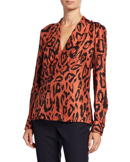 Lafayette 148 New York Carita Painted Leopard Silk Blouse