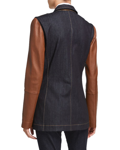 Lafayette 148 New York Rozella Prestige Denim 11 Oz Jacket with Leather Combo
