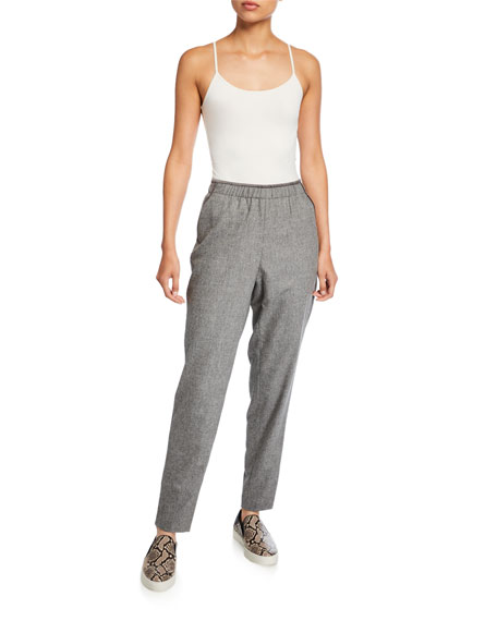 Lafayette 148 New York Finite Italian Flannel Track Pants with Piping