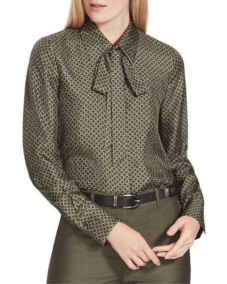Lafayette 148 New York Diana Mini Modernist Tie-Neck Silk Blouse