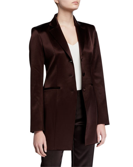 Lafayette 148 New York Jaqueline Reverie Satin Cloth Three-Button Blazer