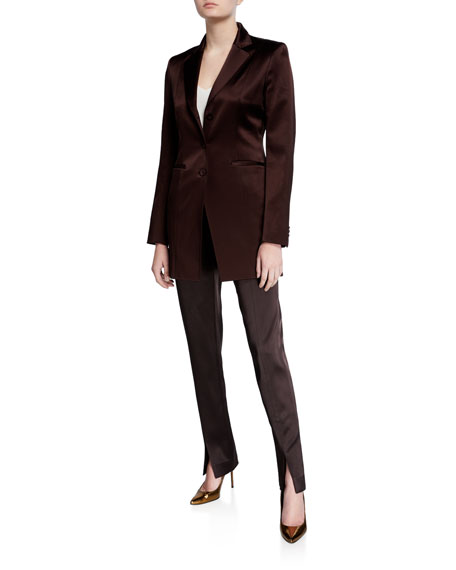 Lafayette 148 New York Waldorf Slim Reverie Satin Cloth Pants with Front Slit
