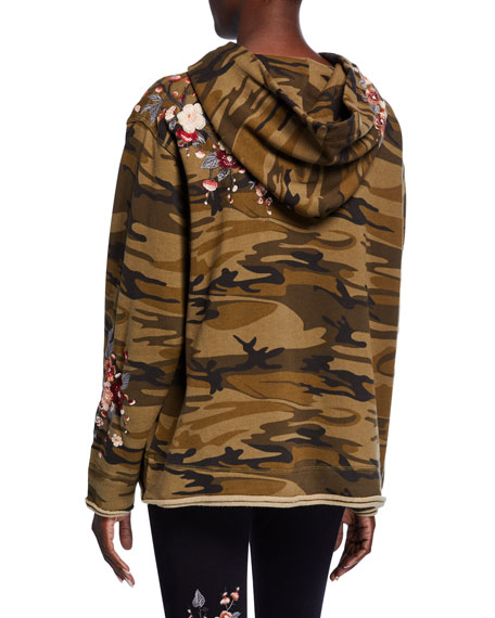 Johnny Was Kira Camo French-Terry Hoodie Pullover w/ Floral Embroidery