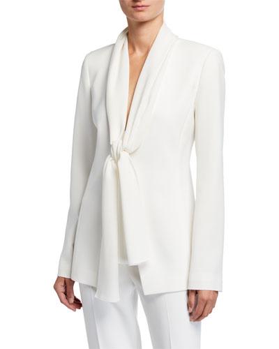Kendria Crepe Jacket with Georgette Tie Combo