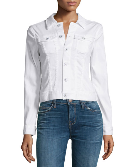 AG Robyn Button-Front Denim Jacket, True White