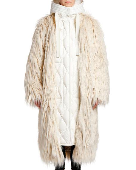 Moncler Bouregreg Oversized FauxFur Coat w/ Underlay