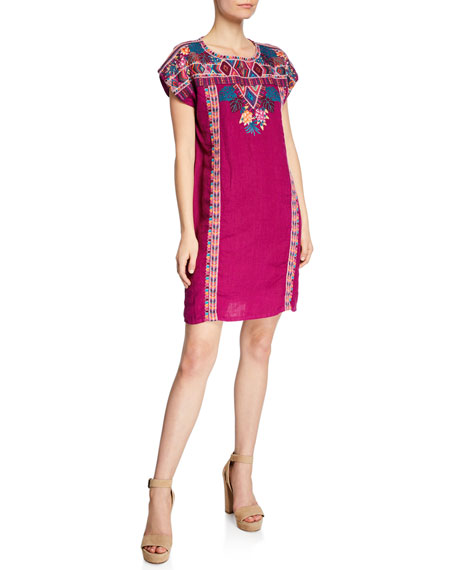 Johnny Was Plus Size Quinn Embroidered Short-Sleeve Shift Tunic Dress