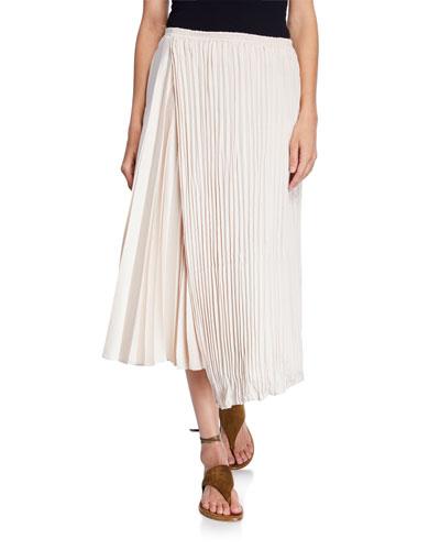Mixed-Pleat Asymmetric Maxi Skirt