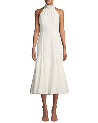 Penelope Italian Cady Halter Dress w/ Open Back