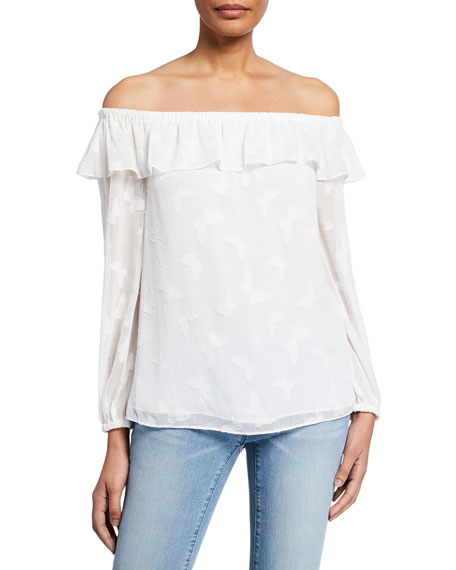 MICHAEL Michael Kors Butterfly Off-the-Shoulder Long-Sleeve Flounce Top