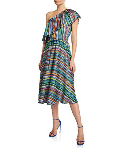 May Stripe One-Shoulder Flare Dress