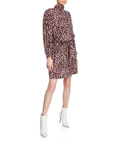 Rivali Leopard-Print High-Neck Dress