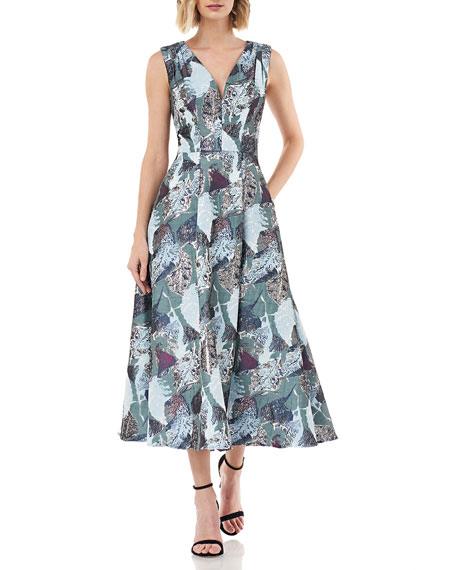 Kay Unger New York Printed Jacquard V-Neck Sleeveless Midi Fit-&-Flare Dress