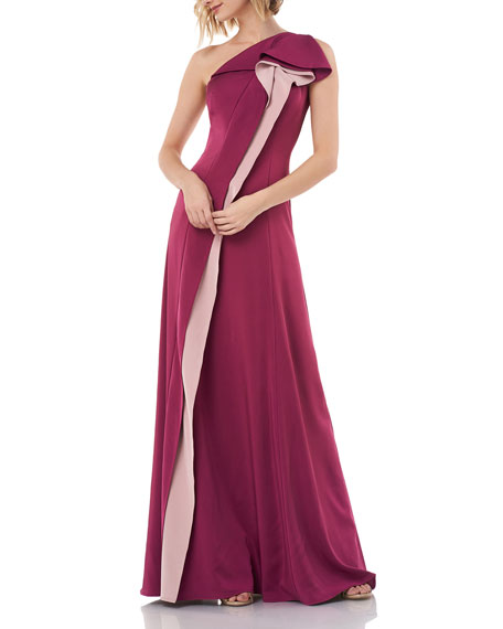 Kay Unger New York One-Shoulder Stretch Faille Gown with Contrasting Pleats