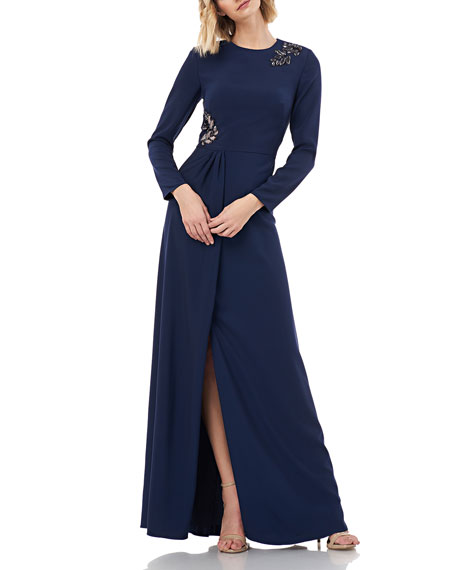 Kay Unger New York Long-Sleeve Stretch Crepe Gown w/ Beading & Pleated Front Slit