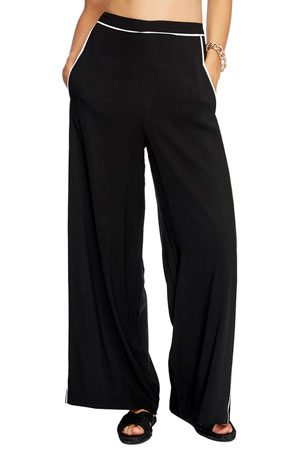 JETS by Jessika Allen High-Waist Coverup Palazzo Pants with Piping