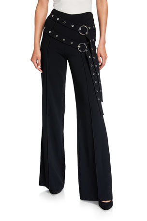 cinq a sept Jessi Long Flare Pants with Double Belt Detail