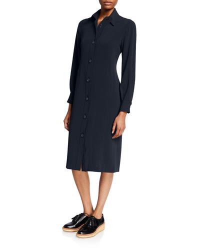 Long-Sleeve Button-Front Jersey Shirtdress