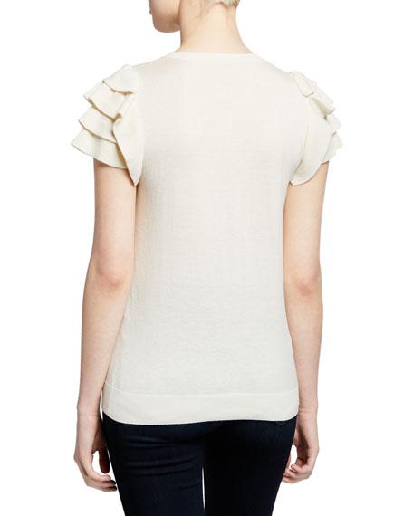 Neiman Marcus Cashmere Collection Cashmere-Blend Crewneck Short-Sleeve Ruffle-Shoulder Top