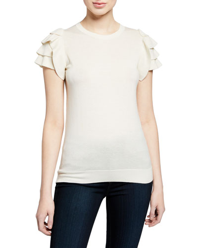 Cashmere-Blend Crewneck Short-Sleeve Ruffle-Shoulder Top
