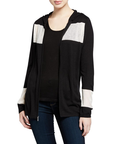 Zip-Front Colorblock Cashmere-Blend Hoodie Jacket w/ Mesh Insets
