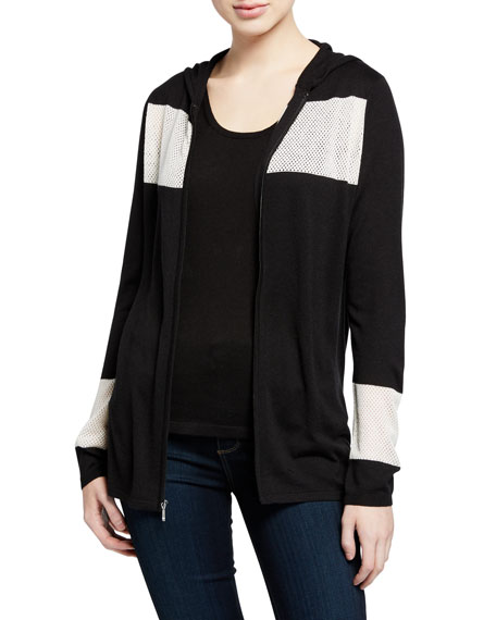 Neiman Marcus Cashmere Collection Zip-Front Colorblock Cashmere-Blend Hoodie Jacket w/ Mesh Insets