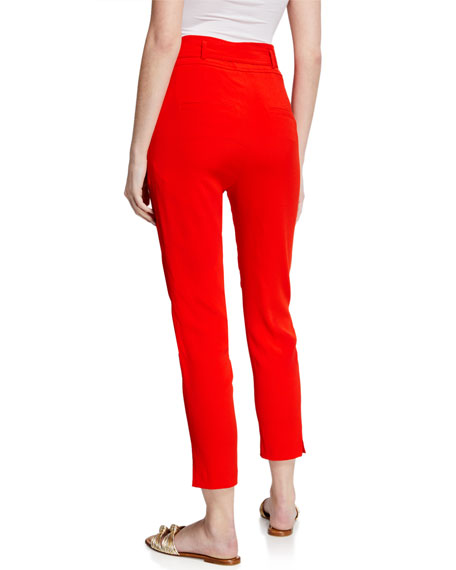 Image 2 of 3: Veronica Beard Faxon Belted Skinny Cropped Pants