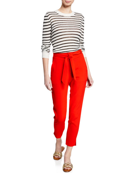 Image 3 of 3: Veronica Beard Faxon Belted Skinny Cropped Pants