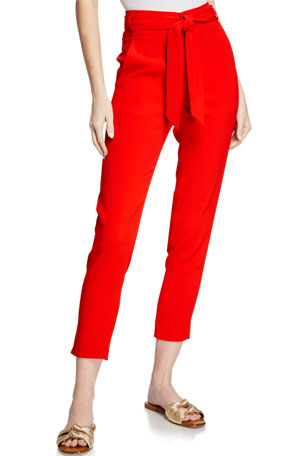 Veronica Beard Faxon Belted Skinny Cropped Pants